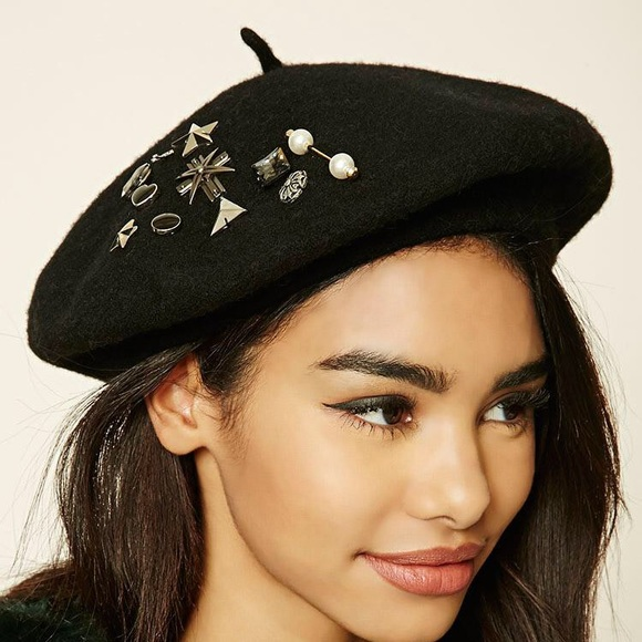 4e8a5d87b7ca Forever 21 Accessories | Forever21 Womens Black Studded Woolblend ...